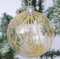 Julgranskula i glas och guldränder (8 cm)