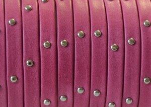 Grekiskt platt läderband 5x1,5mm, Fuchsia/guld