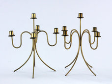 Gunnar Ander -  Elegant pair of candelabrums with five branches in brass