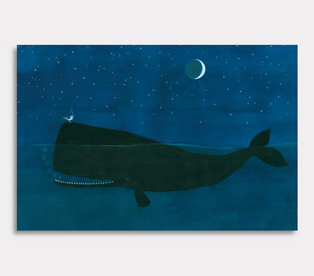 Canvas painting, The ocean rock Valdemar the whale and Harry Gull