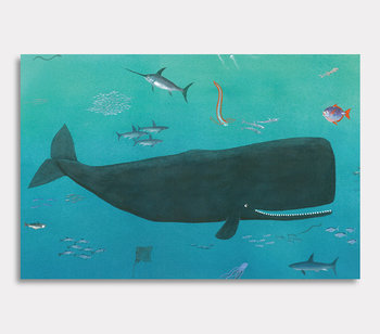 Canvas painting, Valdemar the whale is huge and swims wherever he wants