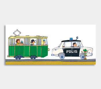 Olle the police car and the tram