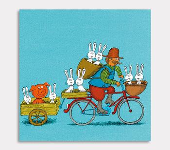 Tavla, Bonden Per med kaniner på cykeltur.