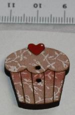 Träknapp Cupcake Hallon