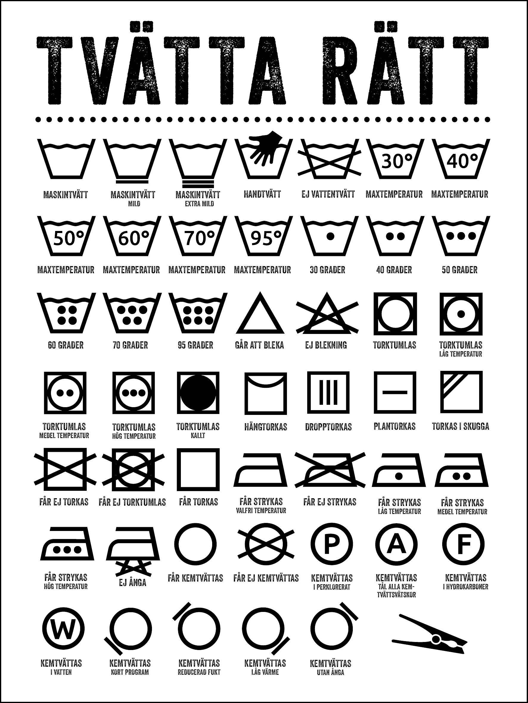 Information om tvättsymboler för att tvätta rätt