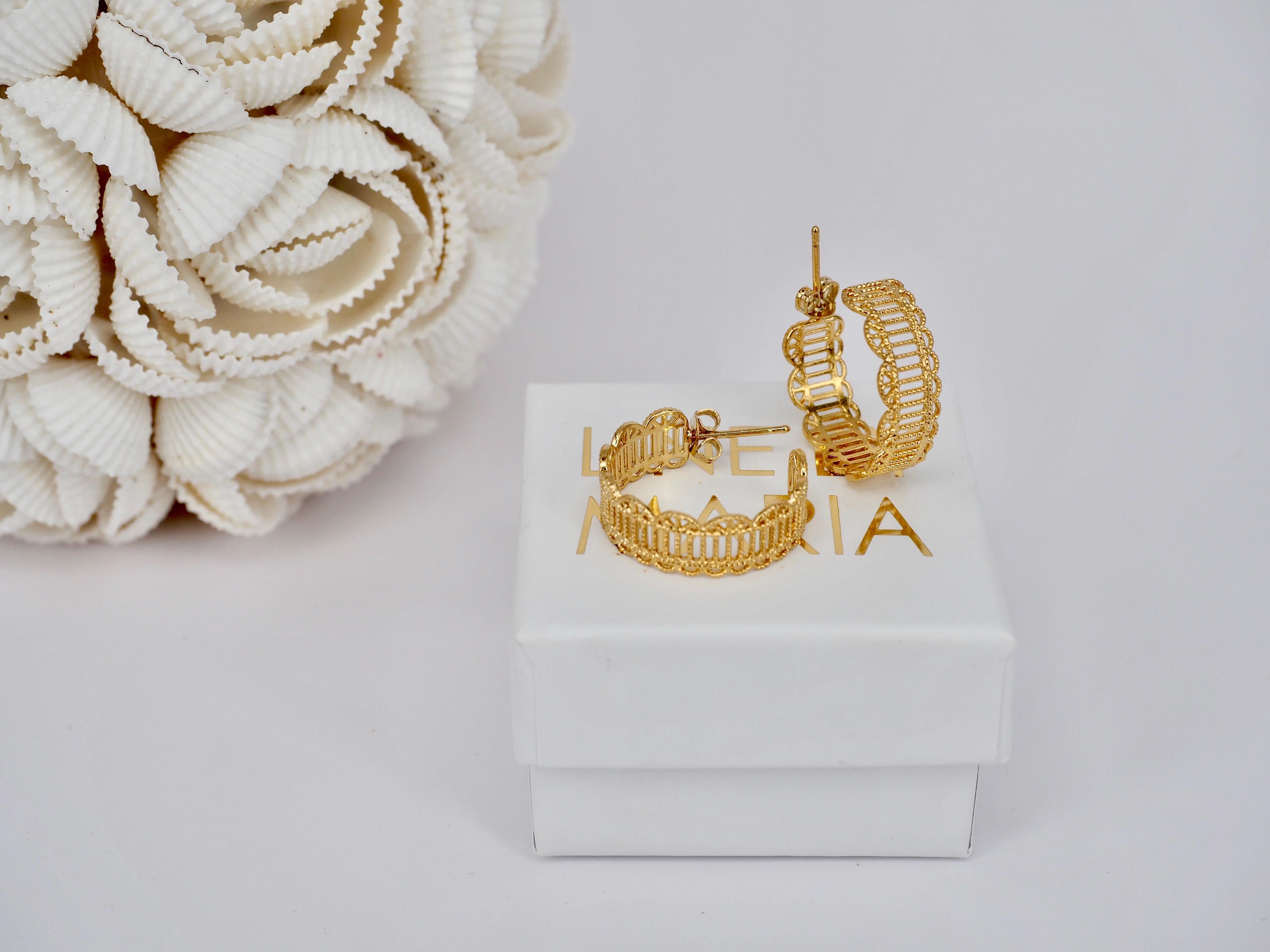 181cf0e65f0 Earrings Tia Lace Hoop Gold - Line By Maria