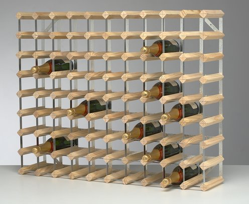 90 Bottle Wine Rack In Natural Pine And Galvanized Metal 10x8