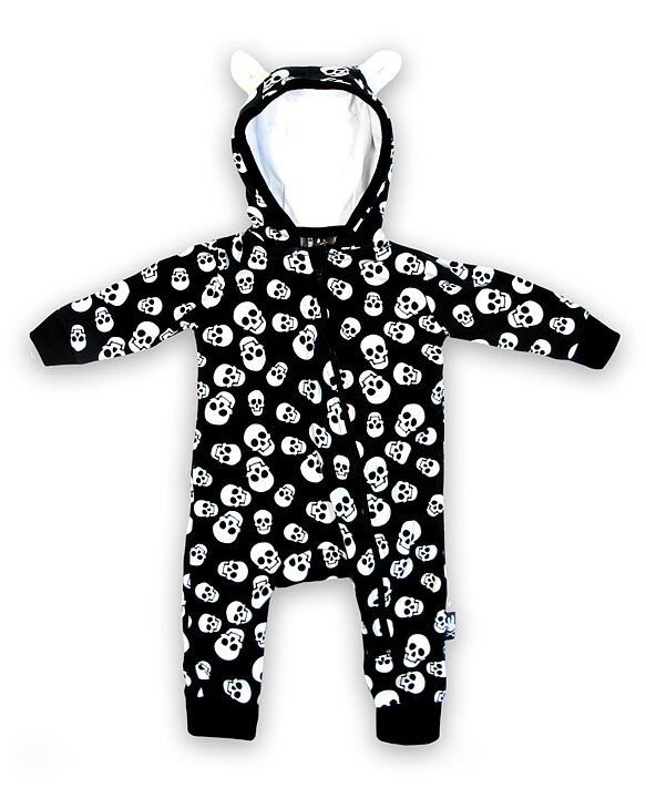 41376c8622e7 Polka Skulls Baby Hooded Romper Suit - Rockzone