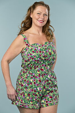 0acccda34c53 the countryside cutie playsuit. tulips in green