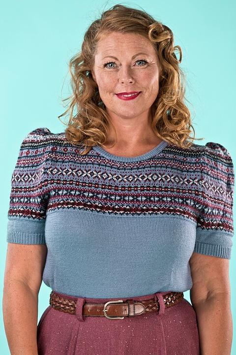emmy design - the fair Fair Isle sweater. dusty blue