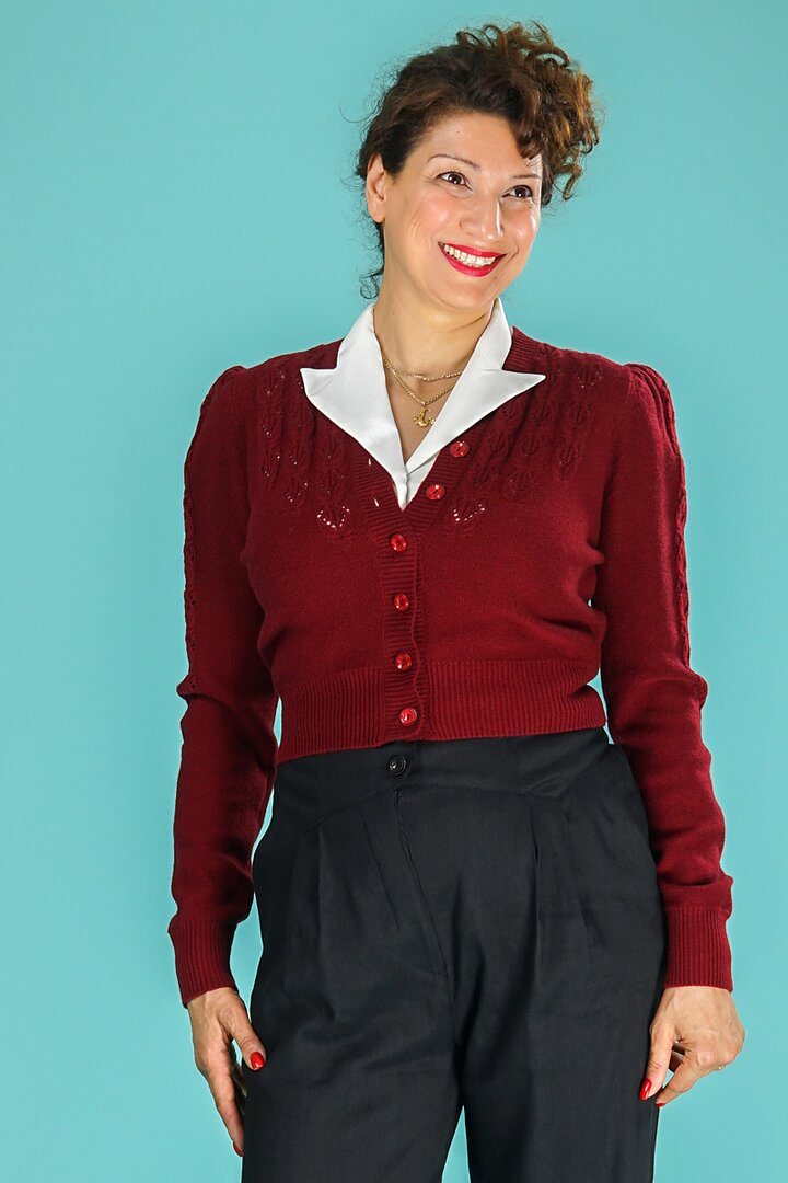 dfba3c231 emmy design - The Peggy Sue cardigan. Berry red