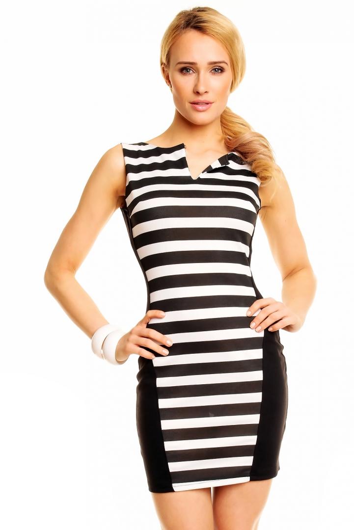svart vit randig klänning