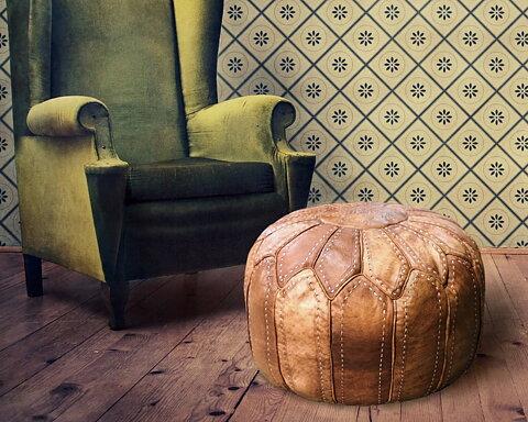 marokkanischer leder pouf natur unique handmade. Black Bedroom Furniture Sets. Home Design Ideas