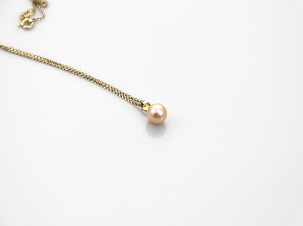 Water pink pearl pendant set in 18k gold fresh water pink pearl pendant set in 18k gold aloadofball Image collections