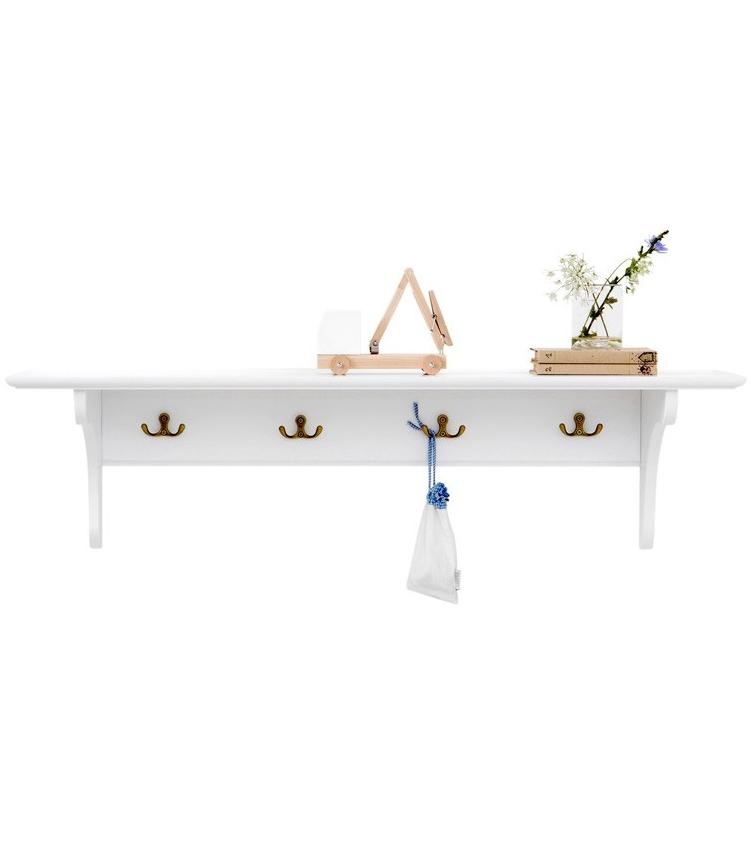 Hylla med krokar vit 20 x 60 cm, Oliver Furniture Solhem Inredning