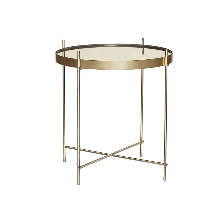 Soffbord runt tonat glas guld, Hubsch Solhem Inredning