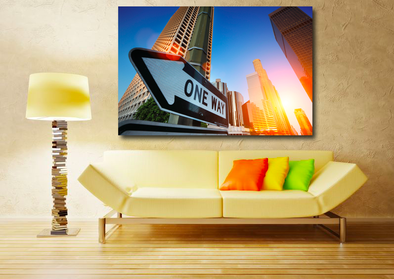 One Way, sunrise over Los Angeles - Canvasprinting, Oil Painting