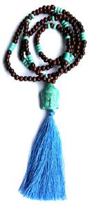 Mala Halsband med Toffs - Turkos Buddha Huvud