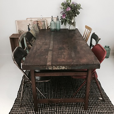 matbord vintage Vintage matbord 180 cm   Stort matbord i industristil   Hippo and  matbord vintage
