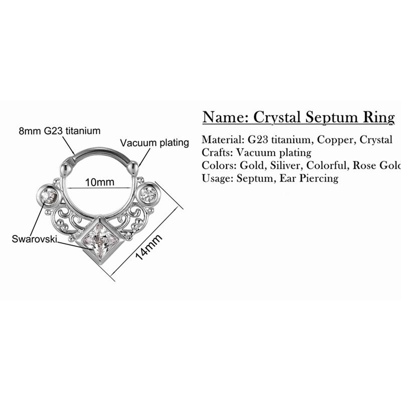 Cz Diamond Nose Rings Septum Clicker Titanium Angelodemonse