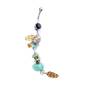 Navel Belly Button Ring Body Piercing Jewelry Dangle Stone Leaf Navel