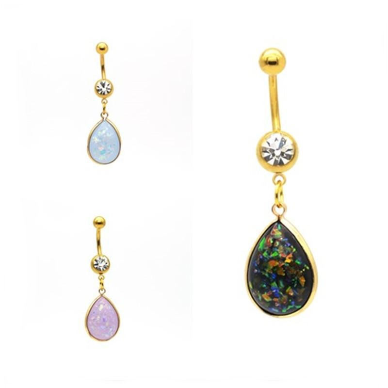 Gold Plated Faux Opal Navel Belly Button Ring Body Piercing Jewelry