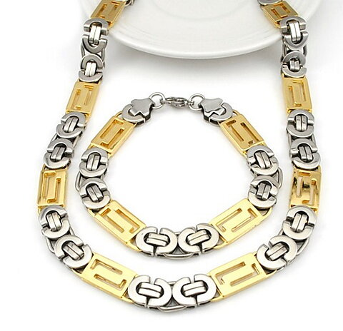 549 SEK. Köp. Rostfritt stål halsband + armband Set bred 11mm 57ec66b28dc24