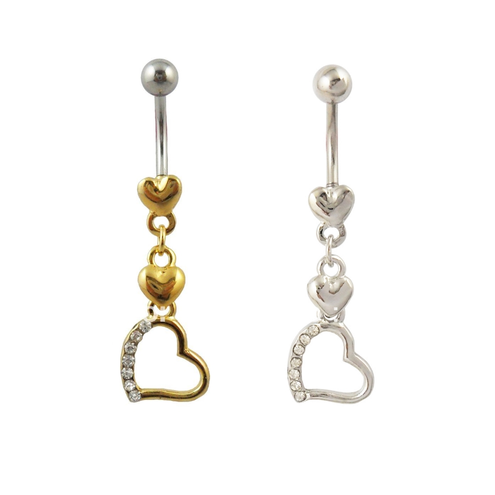 Navel Belly Button Ring Body Piercing Gold Silver Heart