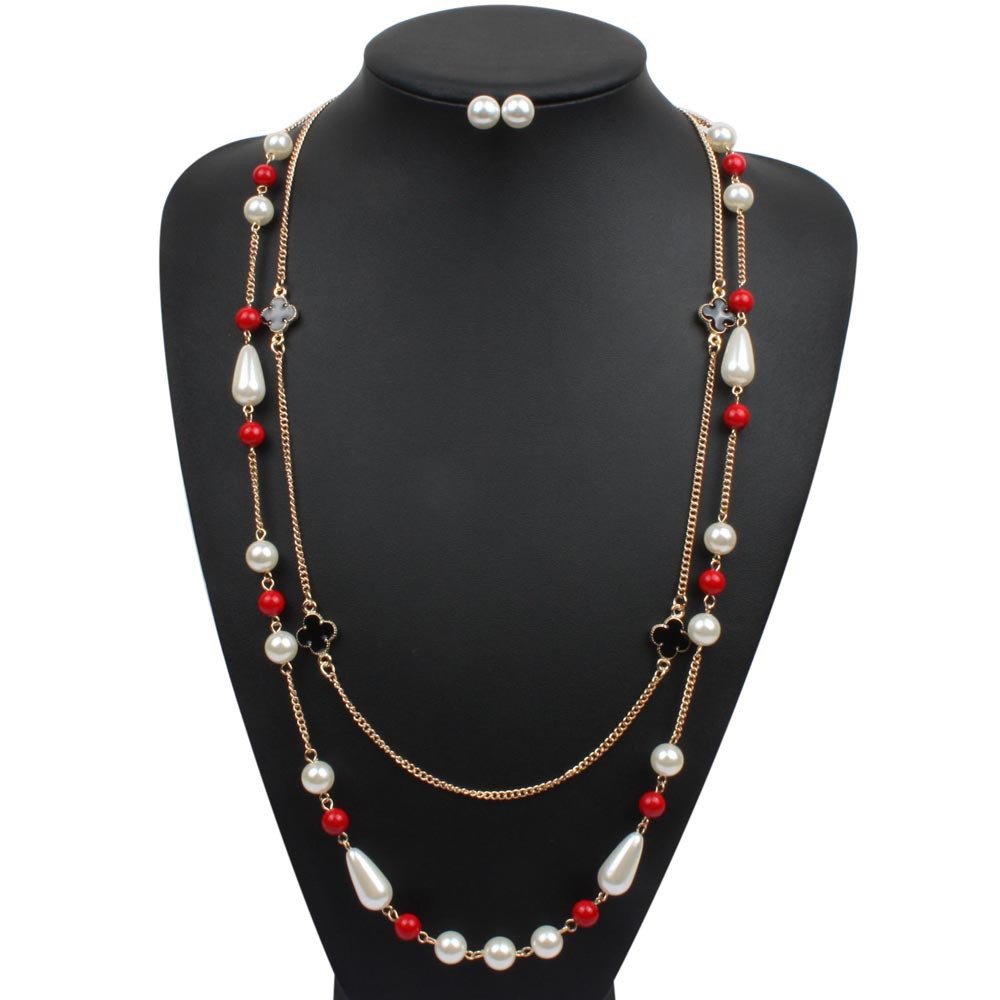 b19133362 Glass Pearl Jewelry sets double Necklace Earring set - 6. Next. Previous
