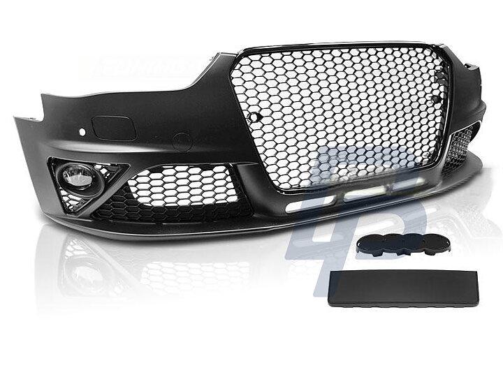 audi a4 b8 12 15 rs style black pdc front bumper bluepower. Black Bedroom Furniture Sets. Home Design Ideas