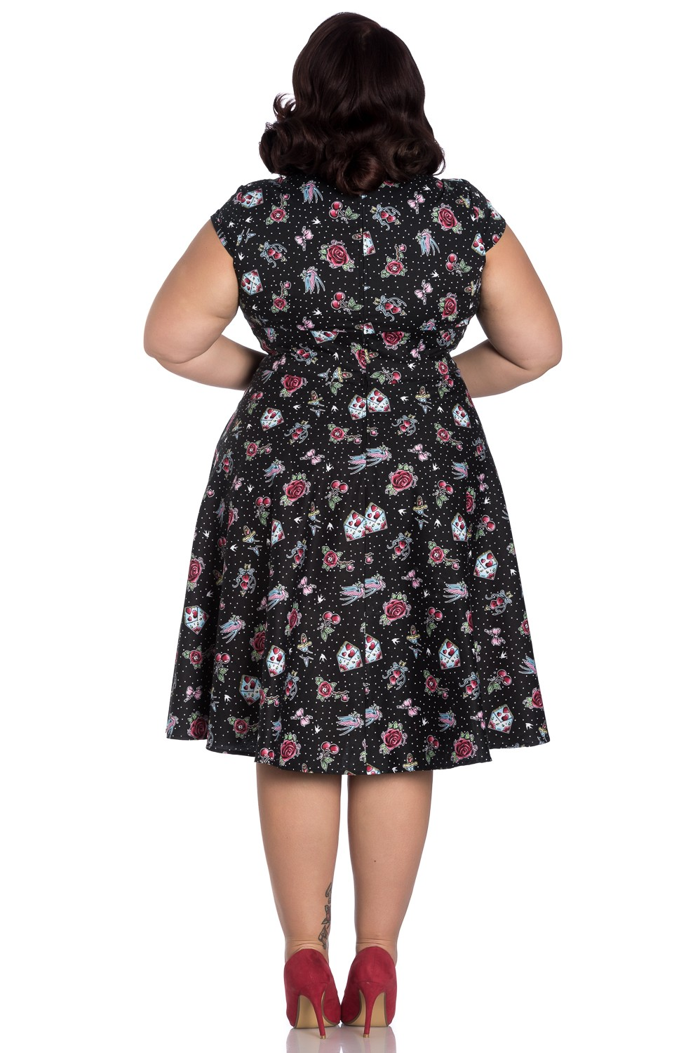 Collectif Clothing 50s Violet Floral Cherry Dress in Pink