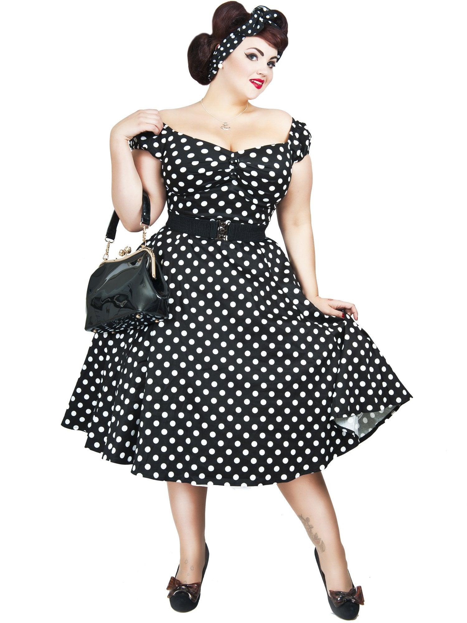 f297a14b3d9e Johannas Rockabilly   Vintage AB - Collectif - Dolores Black Polka Dress