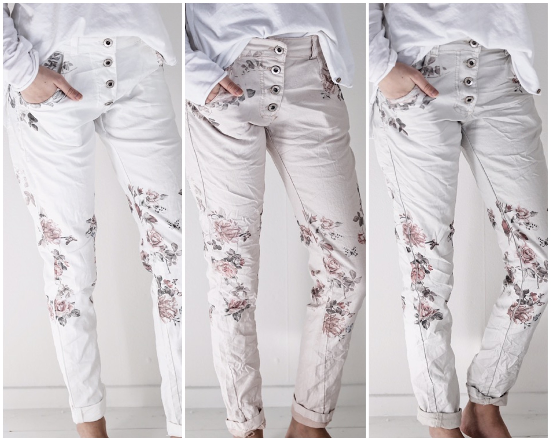 Blommiga Jeans Beige - Onödigt Snyggt f9ee86ddbdb46