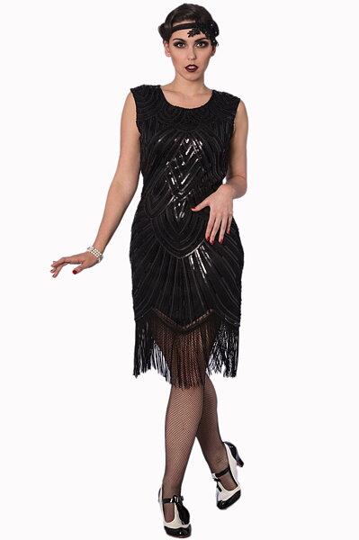 Svart 20-tals. paljettklänning Great Gatsby klänning a0cb72ce64e96