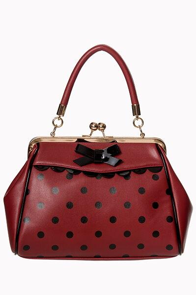 Vinröd Bordeaux vintageinspirerad handväska med svarta prickar från Banned. b8bac1c24f8cf