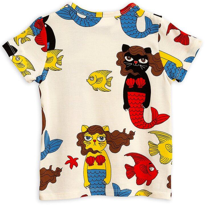 Mini Rodini T-Shirt Kortärmad AOP Cat Mermaid Off-White - FreshMilk ... 6a7a26211de5d