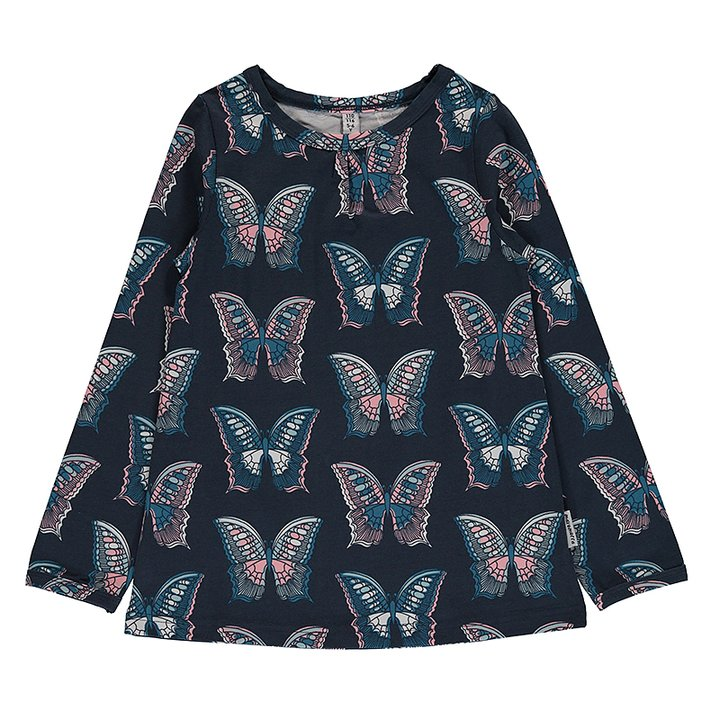 66a83eda784 Maxomorra T-Shirt A-line Long Sleeve Butterfly Dark Blue - FreshMilk ...