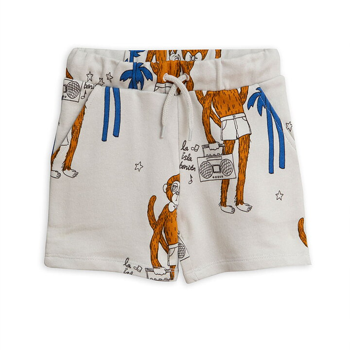 860faba0294 Mini Rodini Sweatshorts AOP Cool Monkey Grey - FreshMilk Children's ...