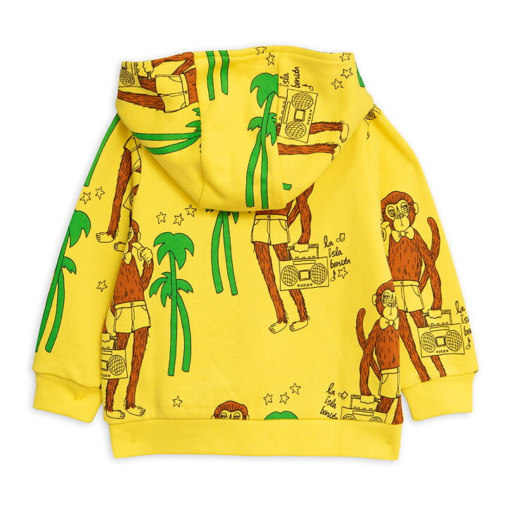 Mini Rodini Hoodie Zip AOP Cool Monkey Gul - FreshMilk Barnkläder ... 054db618c380d