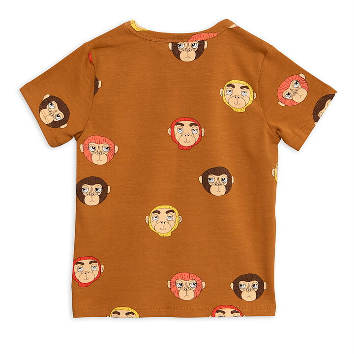 Mini Rodini T-Shirt Kortärmad AOP Monkeys Brun - FreshMilk ... dacf8a824819e
