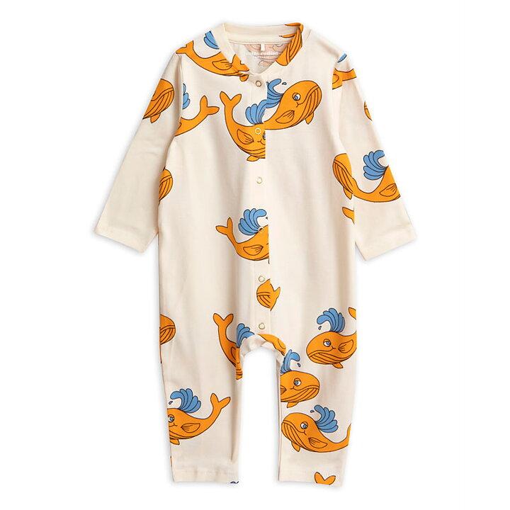 dfcc218b1241 Mini Rodini Jumpsuit AOP Whale Orange - FreshMilk Children s Clothing