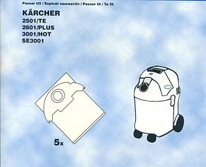 dammsugarp sar k rcher 2501te 2601plus 3001hot se3001 5 pack. Black Bedroom Furniture Sets. Home Design Ideas