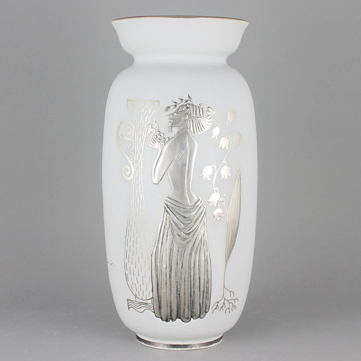 Stig Lindberg Grazia 1951 Stylistic Vase With Woman And Column Motif