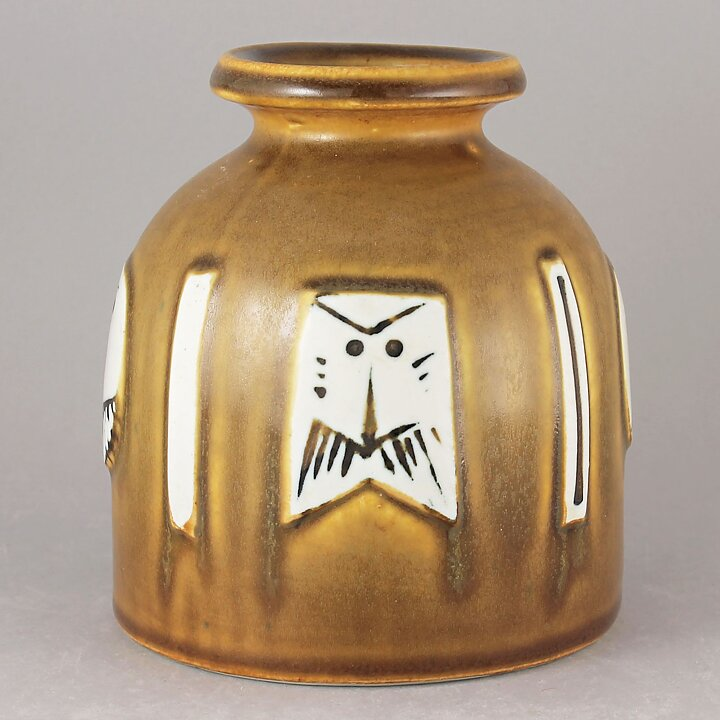 Lisa Larson Thalia 1960 Fascinating Four Faces Vase