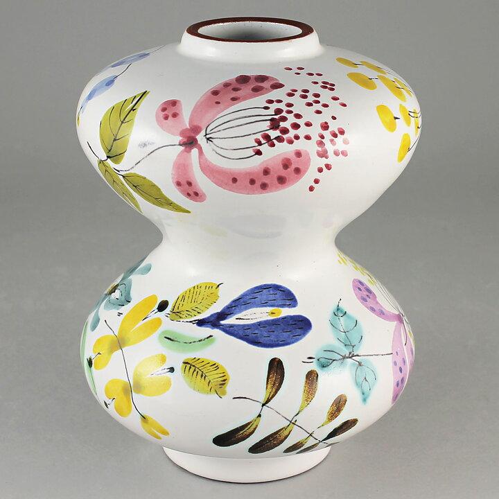 Stig Lindberg 1950s Brilliant Hourglass Faience Vase With Flowers 2