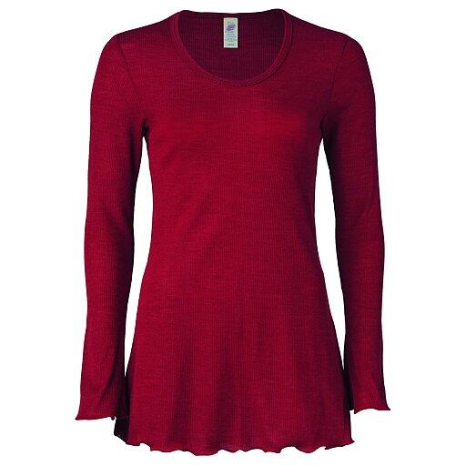 9853c06b Röd långärmad natt tröja för vuxen (dam) i ekologisk GOTS-certifierad  ullsilke från