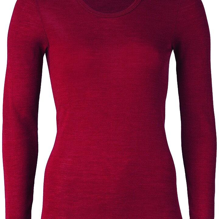 3cfd437436f Röd långärmad tröja för vuxen (dam) i ekologisk GOTS-certifierad ullsilke  från Engel