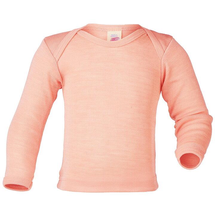 Pastell persika tröja till baby med omlotthals i GOTS-certifiered ull silke  från Engel 787ea5414f1bf