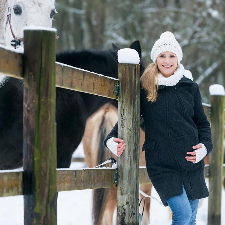 Mamalila babywearing coat bärjacka för två - i naturlig ull - Antracite