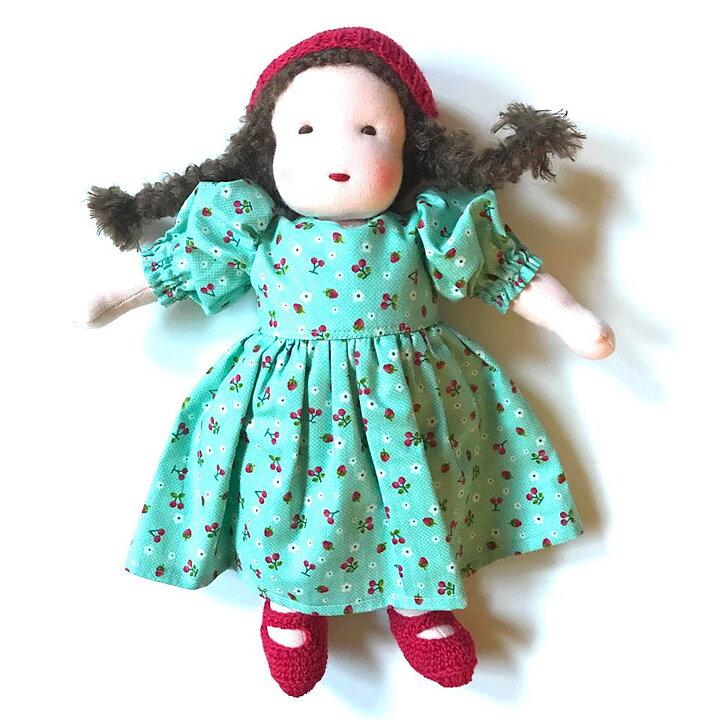 cfe203ead2f3 Stor handgjord waldorfdocka (32 cm) Brunt långt hår, röd mössa och turkos  klänning